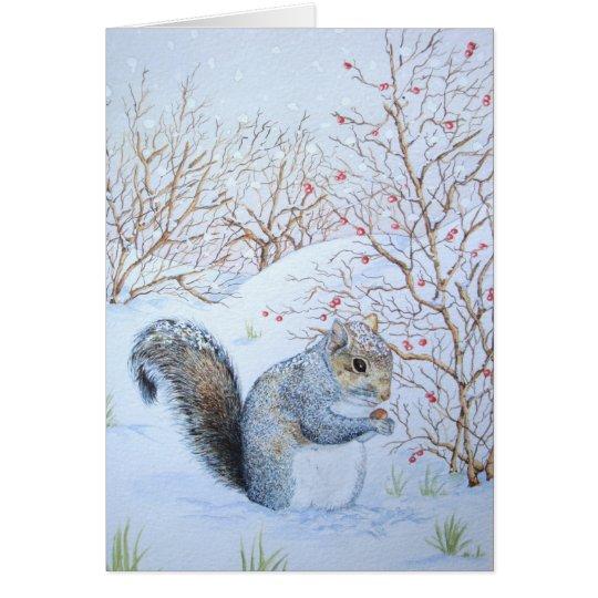 niedliche graue Eichhörnchenschneeszenen-Tierkunst Karte