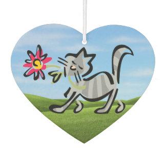 Niedliche graue Tabby-Katze Autolufterfrischer