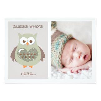 NIEDLICHE GRÜNE EULEN-BABY-MITTEILUNGS-FOTO-KARTE 12,7 X 17,8 CM EINLADUNGSKARTE