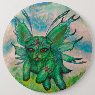 Niedliche grüne Kätzchen-Katze winged Runder Button 15,3 Cm