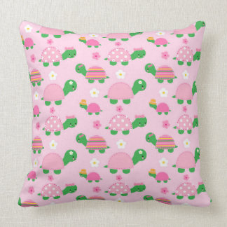 Cute Green Turtle on Colorful Pink