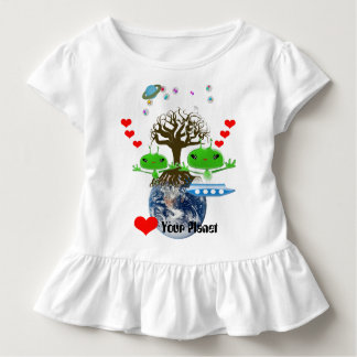 Niedliche grüne Weltraum-Außerirdische mit Kleinkind T-shirt
