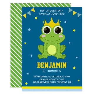 Niedliche grüner Frosch-Kindergeburtstag-Party Karte