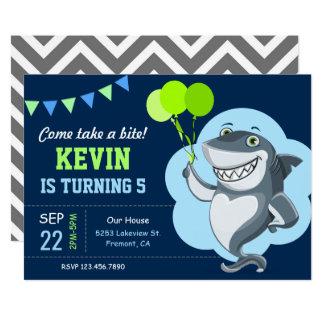Niedliche Haifisch-Kindergeburtstag-Party Karte