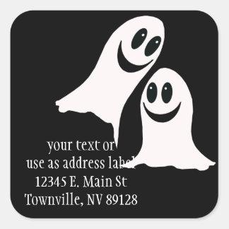 Niedliche Halloween-Cartoon-Geister Quadratischer Aufkleber