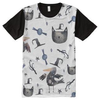 Niedliche Halloween gemalte Muster (Customizeable T-Shirt Mit Bedruckbarer Vorderseite