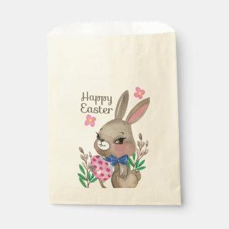 Niedliche Hand gezeichneter Osterhase und Eier Geschenktütchen