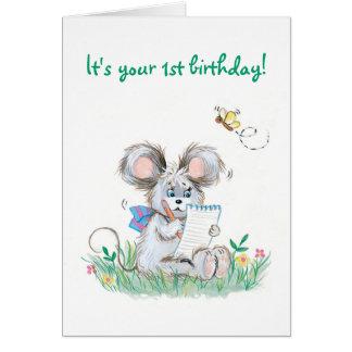 Niedliche Häschen-Kindererste Geburtstags-Karte Karte