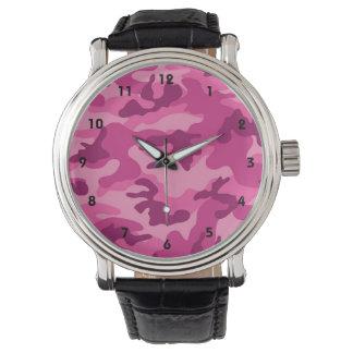 Niedliche helle rosa Camouflage, Tarnung Armbanduhr
