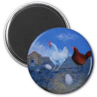 Niedliche Henne-Huhn-kundenspezifischer Kunst-Magn Runder Magnet 5,7 Cm