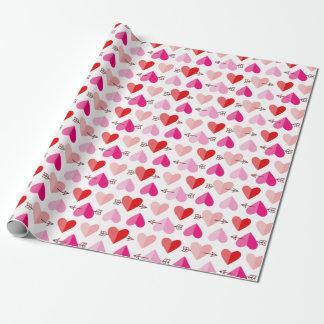 Niedliche Herzen u. Pfeile Rosa u. Rot des Einpackpapier