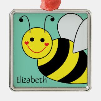 Niedliche Hummel-Biene personalisiert Quadratisches Silberfarbenes Ornament