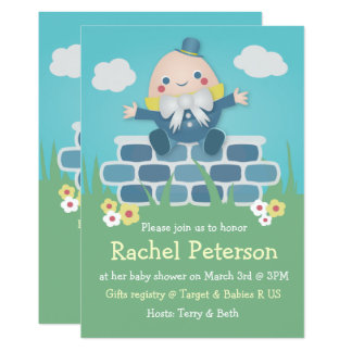Niedliche Humpty Dumpty Baby-Duschen-Einladung 12,7 X 17,8 Cm Einladungskarte