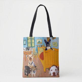 Niedliche Hunde in Van Gogh Schlafzimmer Tasche