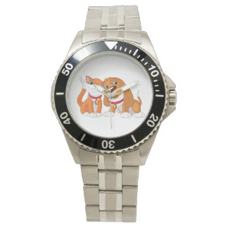 Niedliche Hunde-und Katzen-Uhr Uhr