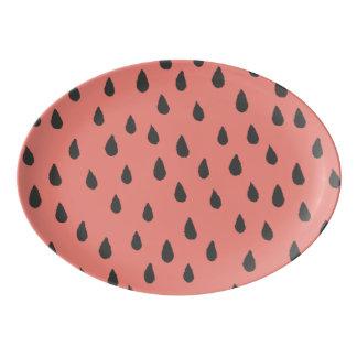 Niedliche illustrierte Sommer-Wassermelone sät Porzellan Servierplatte
