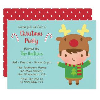Niedliche Jungen-Ren-Hut-WeihnachtsParty Karte