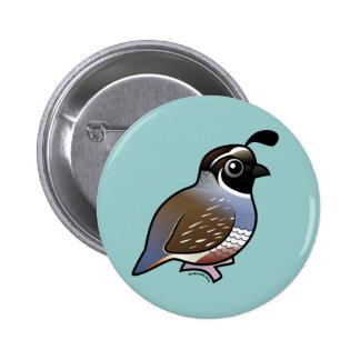Niedliche Kalifornien-Wachteln Runder Button 5,7 Cm