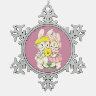 Niedliche Kaninchen Schneeflocken Zinn-Ornament