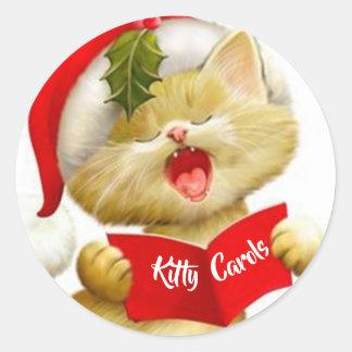 Niedliche Kätzchen-Aufkleber, die Weihnachtsliede Runder Aufkleber