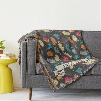 Niedliche Kätzchen-Katzen-buntes Muster Decke