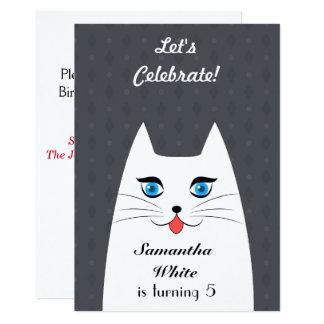 Niedliche Katze mit der Zunge, die heraus haftet 12,7 X 17,8 Cm Einladungskarte