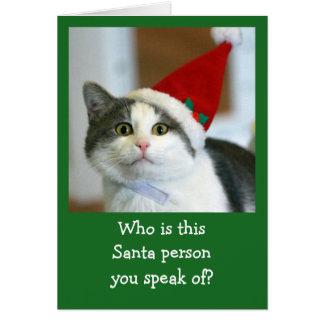 Niedliche Katzen-tragende Weihnachtsmannmütze Grußkarte