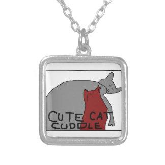 Niedliche Katzen-Umarmung Halskette Mit Quadratischem Anhänger