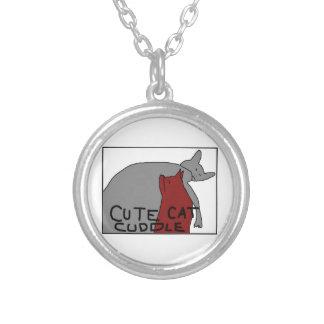 Niedliche Katzen-Umarmung Halskette Mit Rundem Anhänger