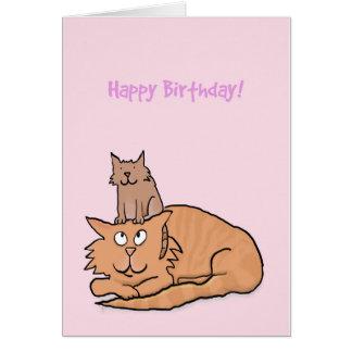 Niedliche Katzen-und Kätzchen-Geburtstags-Karte Grußkarte