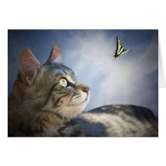Niedliche Katzen-und Schmetterlings-alles- Gute Karte