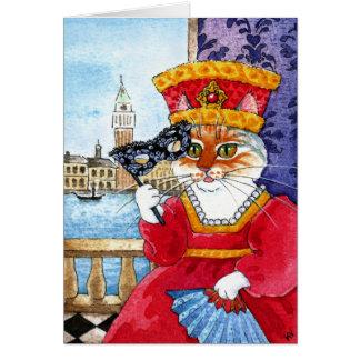 Niedliche Katzen-Valentinstag- oder Karnevalskarte Karte
