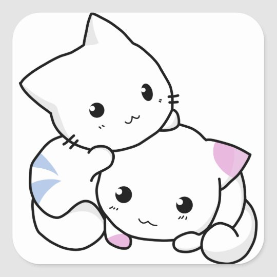 Niedliche Katzenfreunde Quadratischer Aufkleber