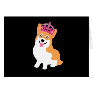 Niedliche kleine Corgi-Prinzessin Wearing eine Karte