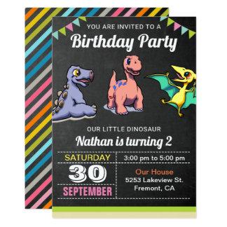 Niedliche kleine Dinosaurier-Geburtstags-Party Karte