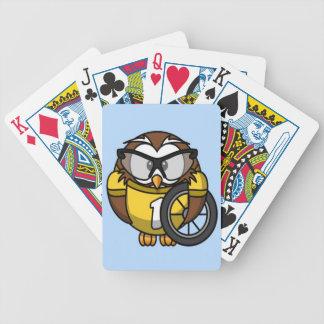 Niedliche kleine lebhafte Radfahrereule Pokerkarten