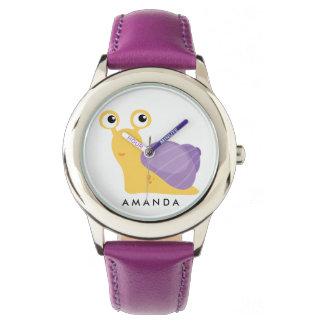 Niedliche kleine lila SCHNECKE personalisiert Armbanduhr