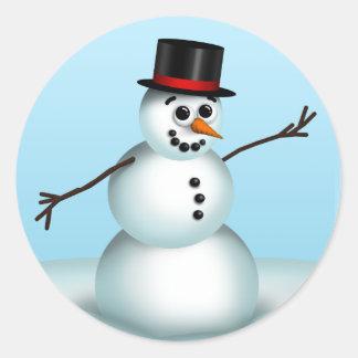 Niedliche kleine Snowman-Winteraufkleber Runder Aufkleber