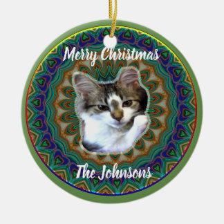 Niedliche kosmische Kätzchen-Weihnachtsverzierung Keramik Ornament