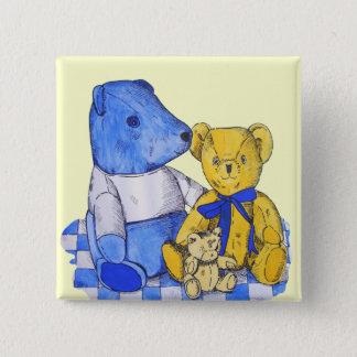 niedliche Lebenkunst des Teddybären noch blau und Quadratischer Button 5,1 Cm