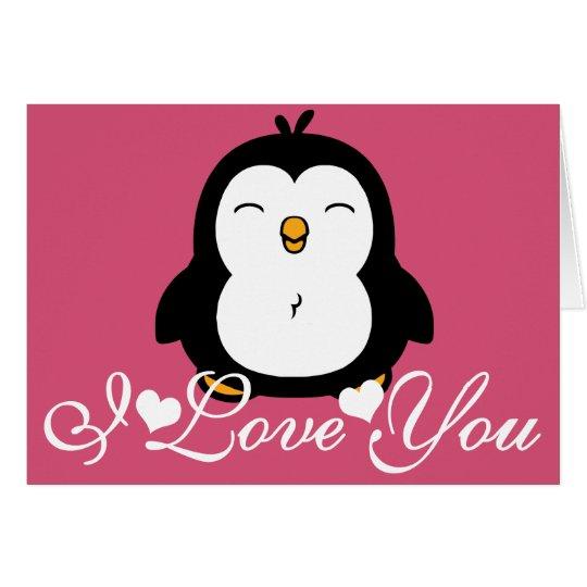 Niedliche Liebe des Penguin-I Sie Grußkarte
