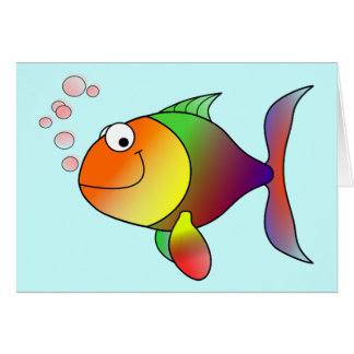 Niedliche lustige Fische - bunt Grußkarte