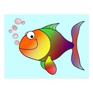Niedliche lustige Fische - bunt Postkarte