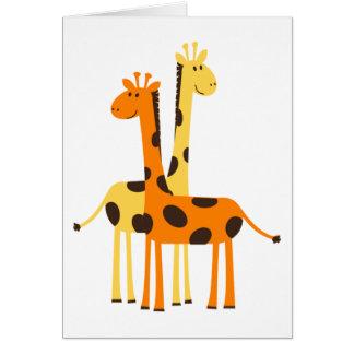 Niedliche lustige Giraffen-Paare Karte