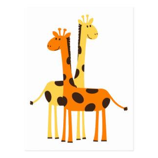 Niedliche lustige Giraffen-Paare Postkarte