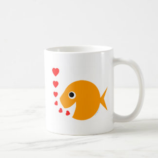 Niedliche lustige goldfish-Kaffee-Tasse des Kaffeetasse