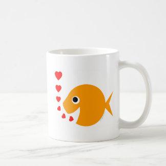 Niedliche lustige goldfish-Kaffee-Tasse des Tasse