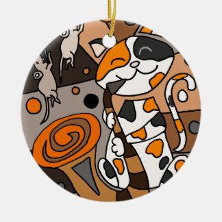 Niedliche lustige Kaliko-Katze, die Rundes Keramik Ornament