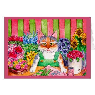 Niedliche lustige Kätzchenkatzen-Blumengruß- oder Karte