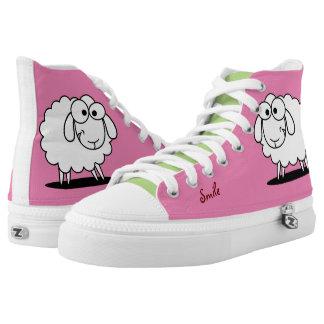 Niedliche lustige Schafe Hoch-geschnittene Sneaker
